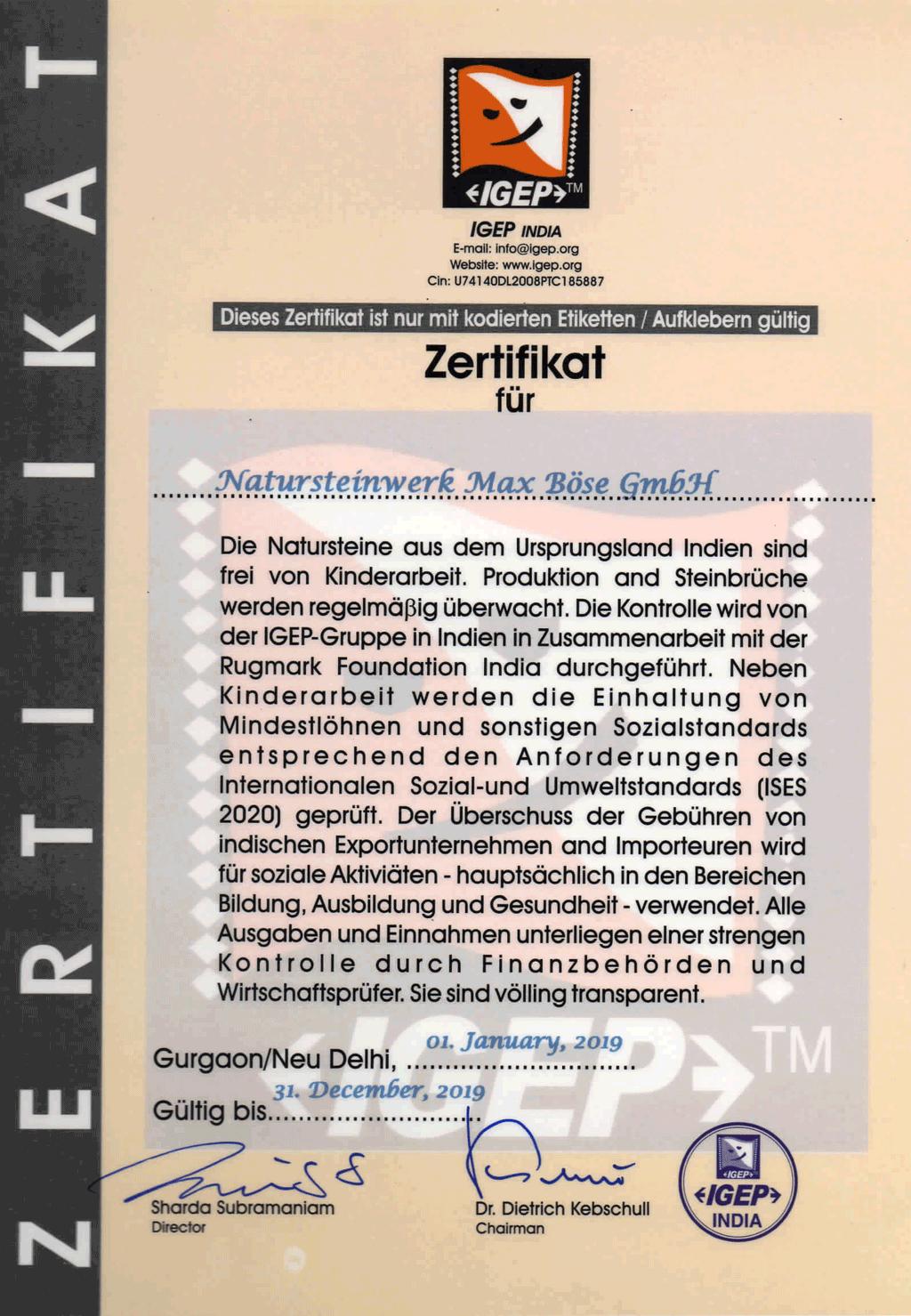IGEP-Zertifikat max böse Grabsteine