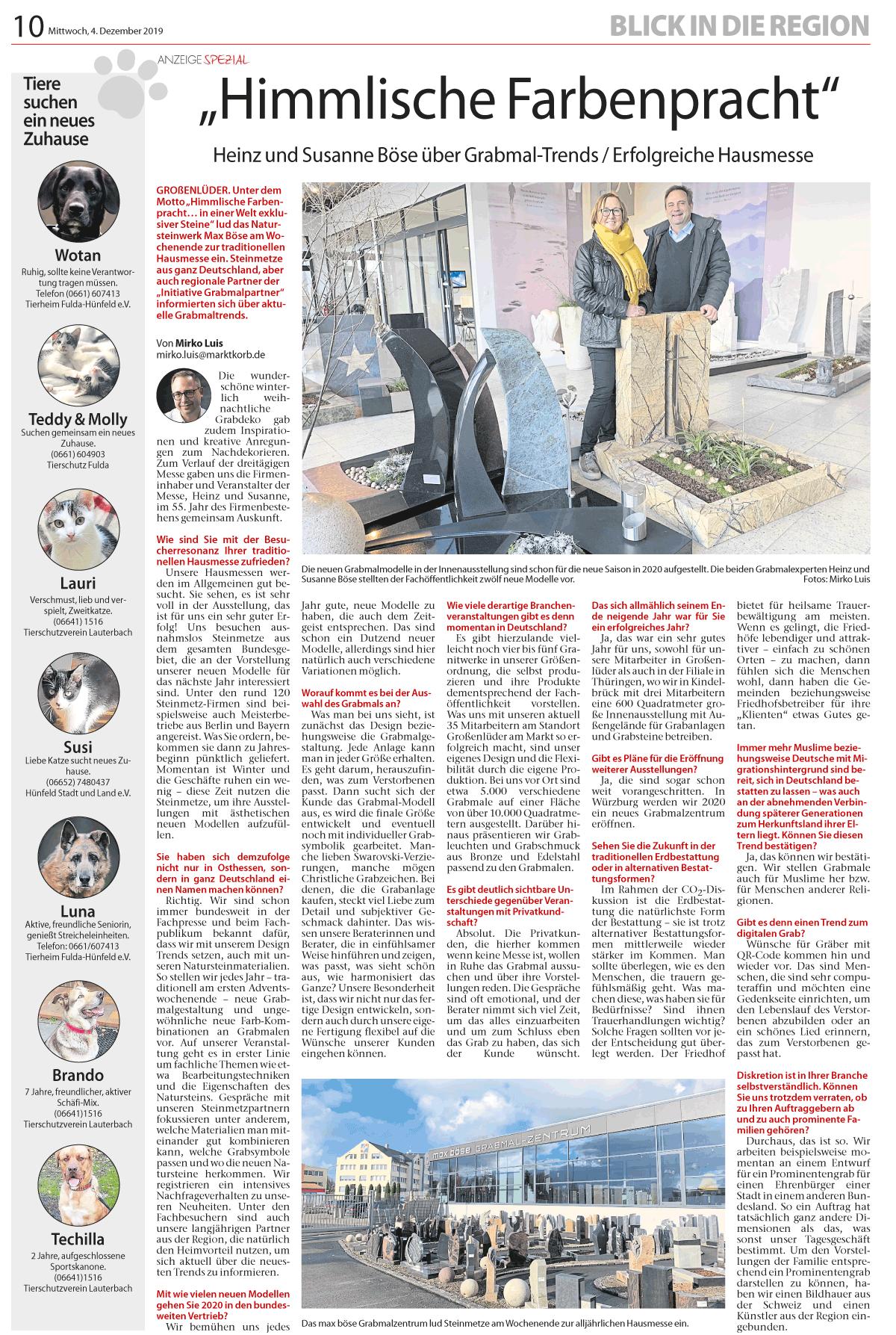 """Interview im Marktkob """"Himmlische Farbenpracht"""""""